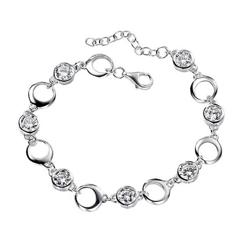 Open Circle Sterling Silver And Cubic Zirconia Bracelet