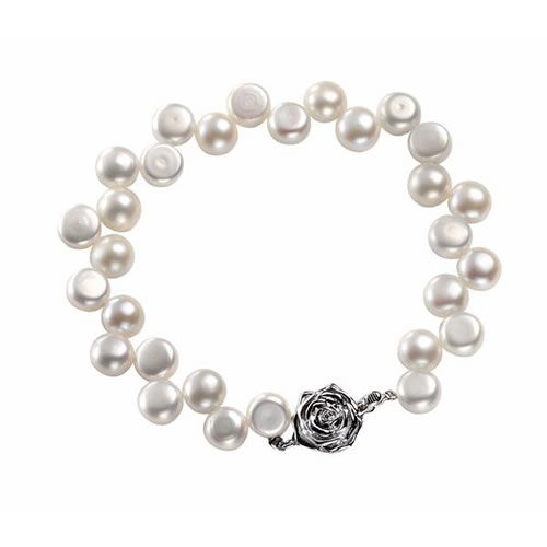 Zig Zag Freshwater Pearl And Sterling Silver Bracelet