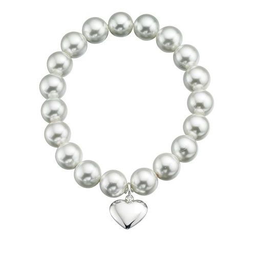 Pearl Stretch Bracelet With Sterling Silver Heart Detail