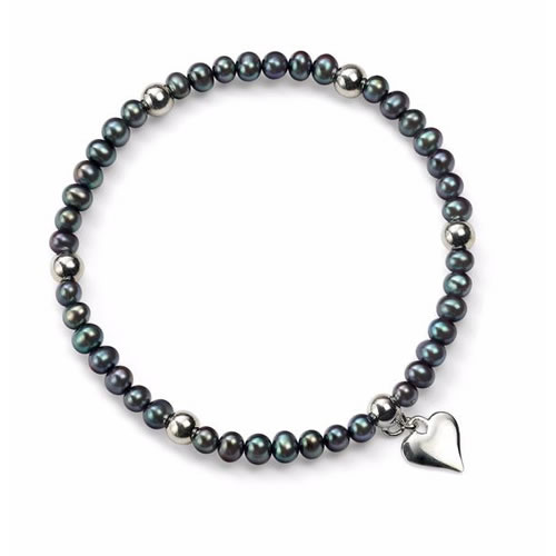 Peacock Pearl Stretch Bracelet With Sterling Silver Beads And Heart