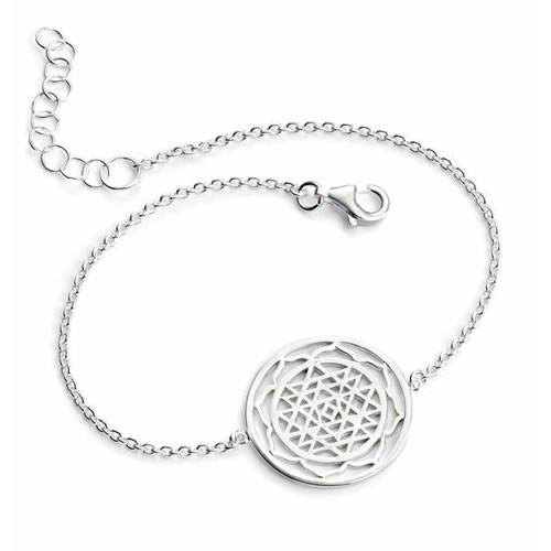 Patterned Disc Sterling Silver Ladies Bracelet