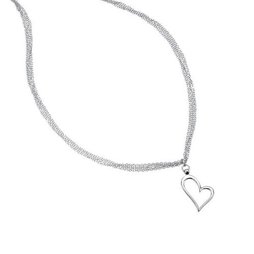 Multi Strand Sterling Silver Heart Necklace