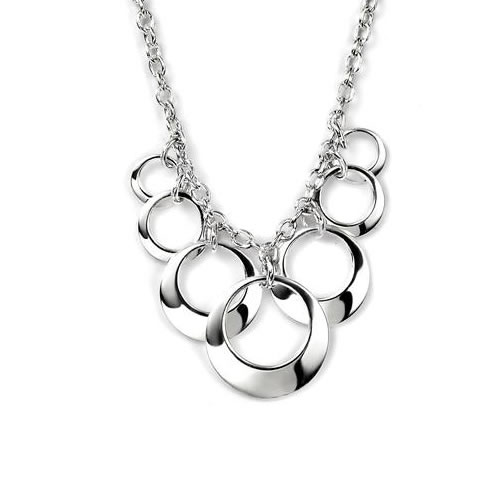 Open Disc Sterling Silver Cluster Necklace