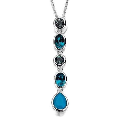 Blue Tones Swarovski Drop Necklace In Sterling Silver