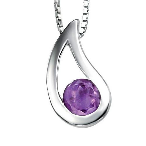 Amethyst Teardrop And Sterling Silver Necklace