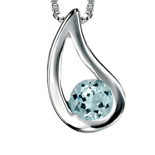 Blue Topaz Checkerboard Teardrop Sterling Silver Necklace