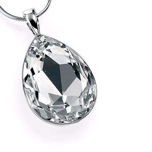 Swarovski Clear Teardrop And Sterling Silver Necklace