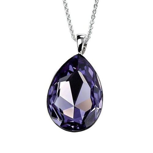 Tanzanite Swarovski Drop Necklace In Sterling Silver