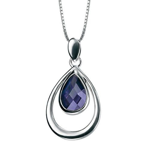Amethyst Teardrop Inside A Sterling Silver Teardrop Necklace