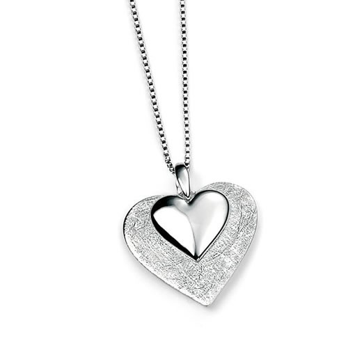 Layered Scratch Finish And Polished Sterling Silver Heart Necklace