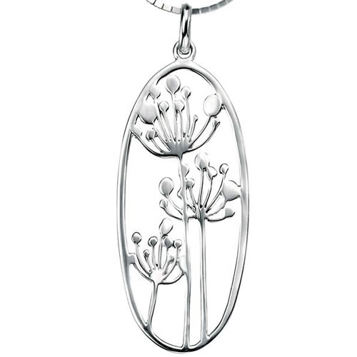Flower Cutout Design Sterling Silver Necklace
