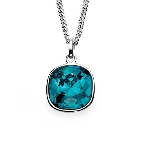 Indicolite Colour Swarovski Crystal Sterling Silver Square Necklace