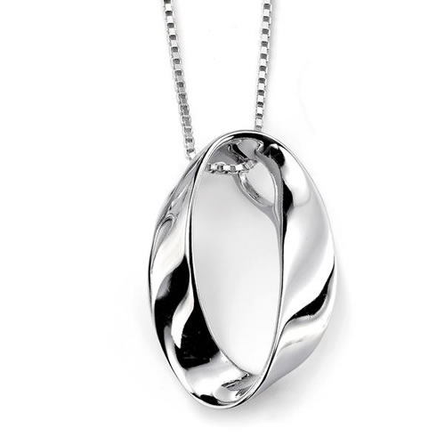 Oval Open Sterling Silver Twist Necklace