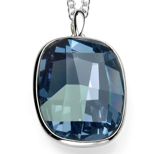Swarovski Denim Blue And Sterling Silver Necklace