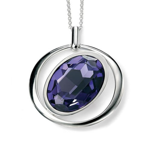 Swarovski Tanzanite Open Oval Necklace In Sterling Silver
