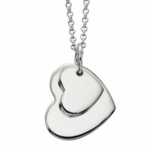 Double Sterling Silver Heart Necklace