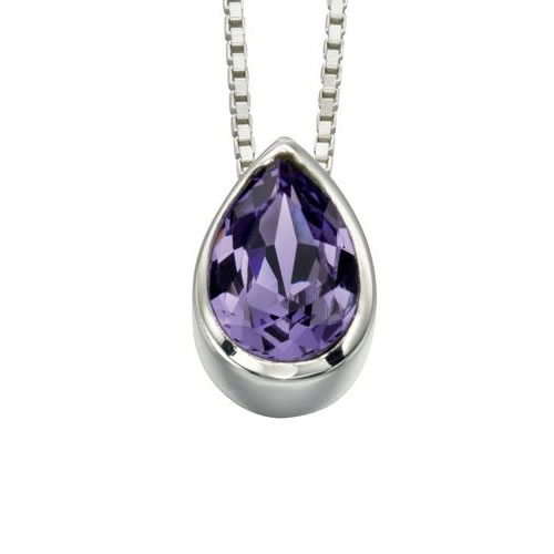 Amethyst Swarovski Crystal And Sterling Silver Teardrop Necklace