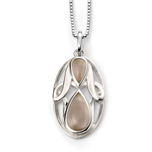 Oval Catseye Sterling Silver Necklace