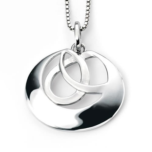 Round Interlinked Circle Sterling Silver Necklace