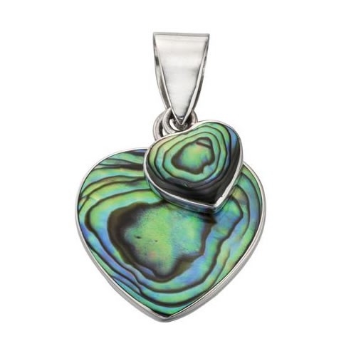 New Zealand Paua Shell Double Heart Necklace