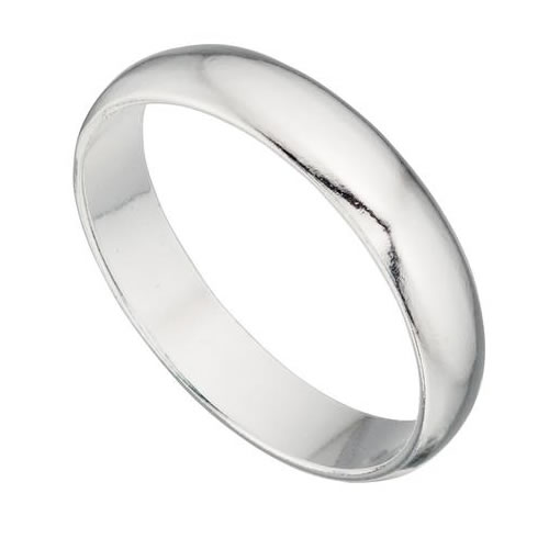 Unisex 4mm Round Profile Sterling Silver Band Ring