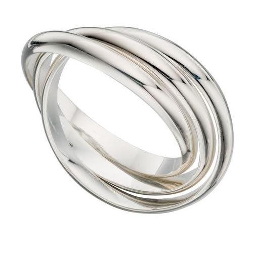 Three Band Sterling Silver Crossover Ladies Ring