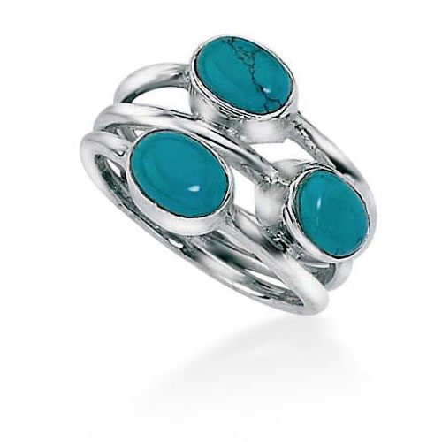 Three Band Sterling Silver Turquoise Ring