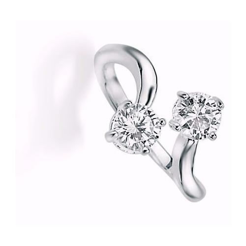 Double Cubic Zirconia Twist Ring