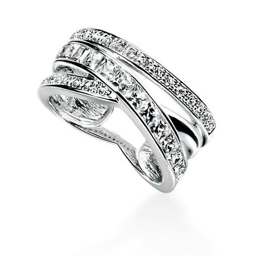 Pave And Channel Set Sterling Silver And Cubic Zirconia Ring