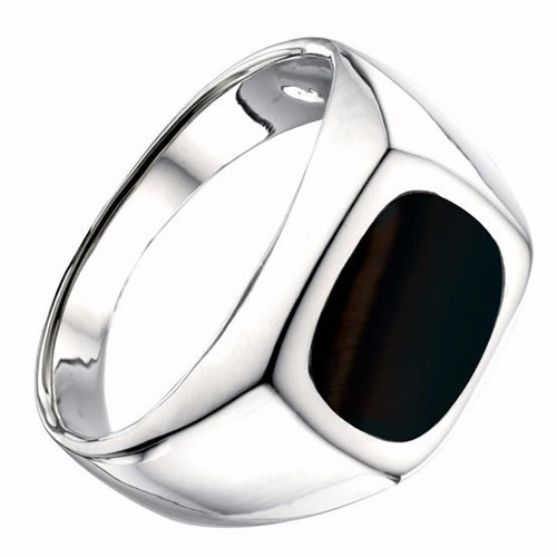Square Onyx And Sterling Silver Ring