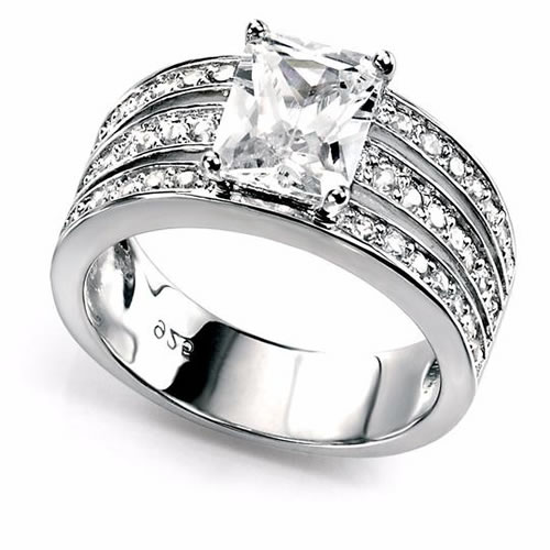 Triple Band Cubic Zirconia And Sterling Silver Ring