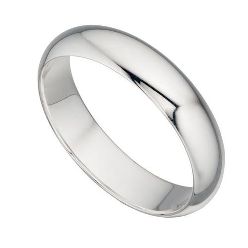 Unisex 4.9mm Round Profile Sterling Silver Ring