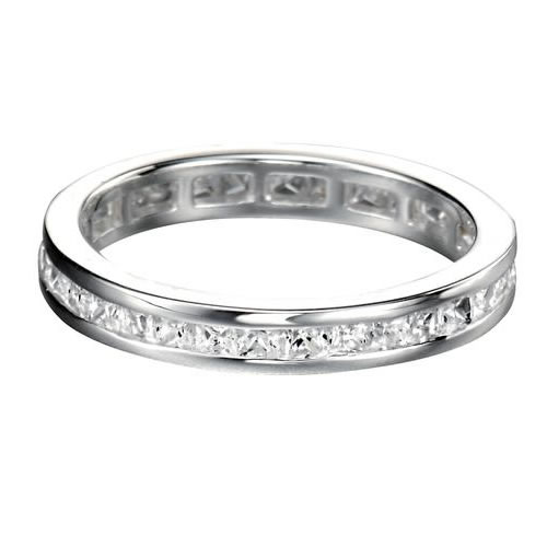 Channel Set Cubic Zirconia And Silver Full Eternity Ladies Ring