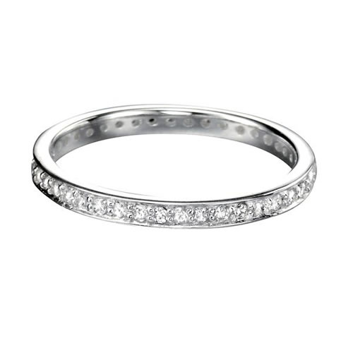 Pave Set Cubic Zirconia And Sterling Silver Full Eternity Ring