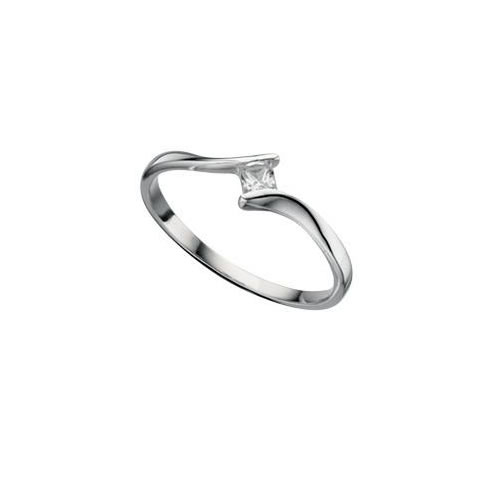 Tension Set Cubic Zirconia And Sterling Silver Ladies Ring
