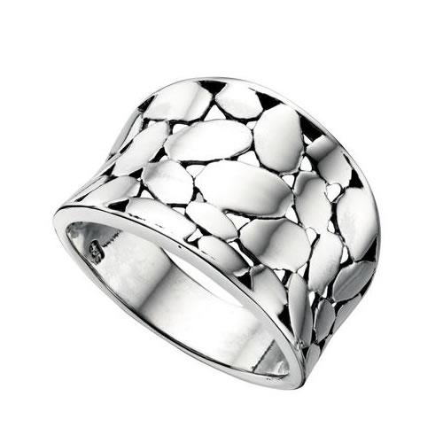 Disc Cutout Design Silver Ladies Ring