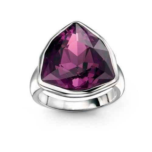 Swarovski Amethyst Ring In Sterling Silver