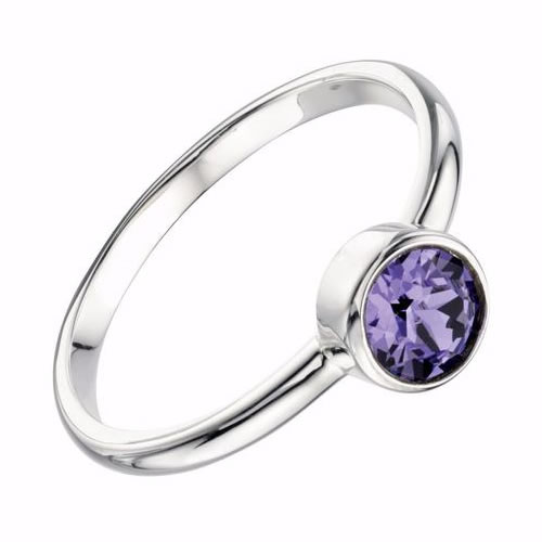 Swarovski Crystal And Sterling Silver Ladies Solitaire Ring