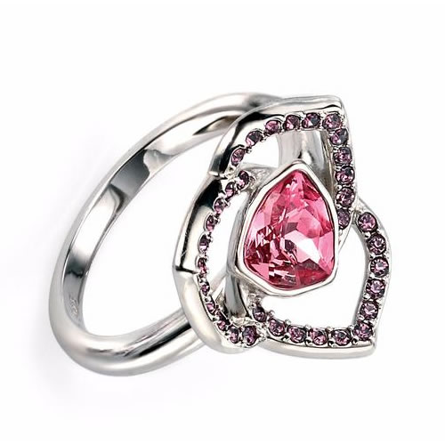 Rose And Amethyst Swarovski Crystal Sterling Silver Flower Design Ring