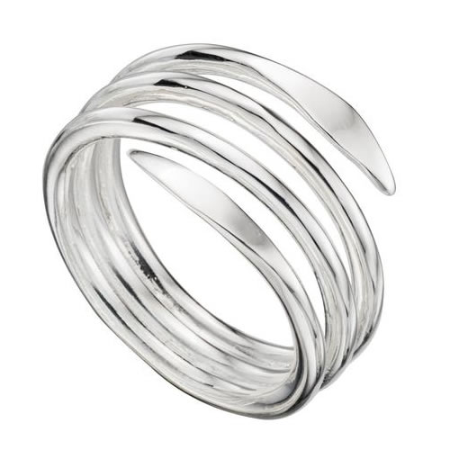 Flat Coil Sterling Silver Ladies Ring