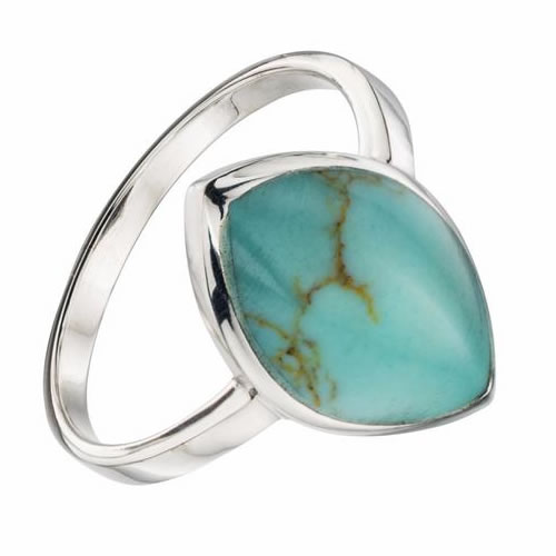 Turquoise Colour Oval Ladies Ring In Sterling Silver