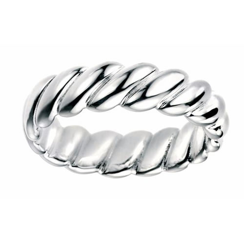 Wide Twisted Sterling Silver Ladies Ring