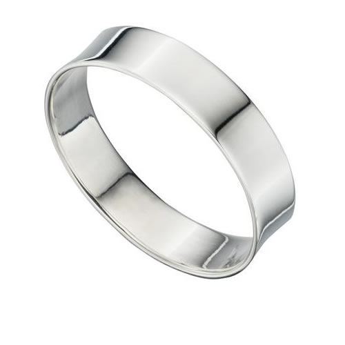 Concave Sterling Silver Unisex 5mm Band Ring