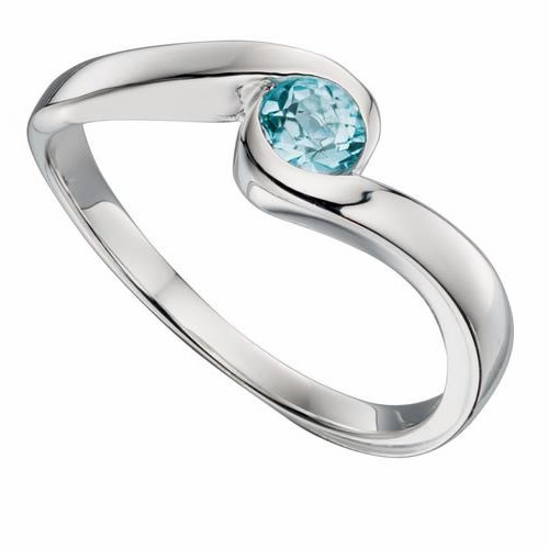 Blue Topaz Ladies Sterling Silver Ring