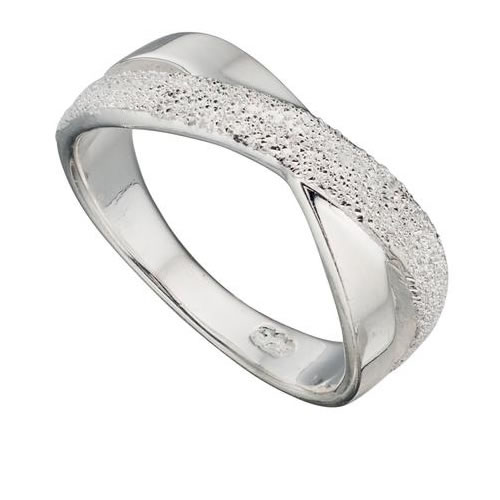 Diamond Cut Silver Crossover Ring