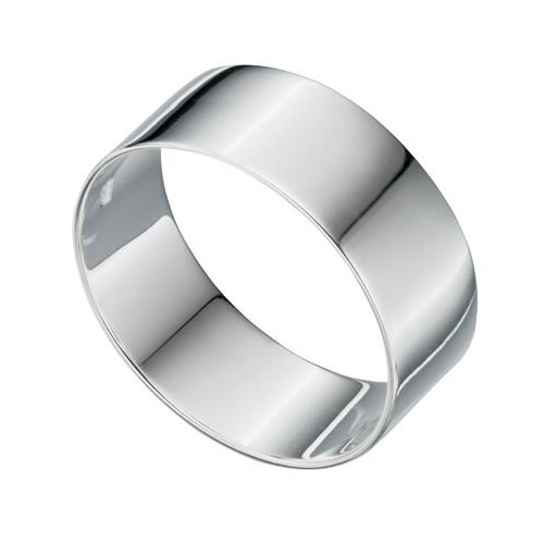 Unisex 7.8mm Flat Profile Sterling Silver Ring
