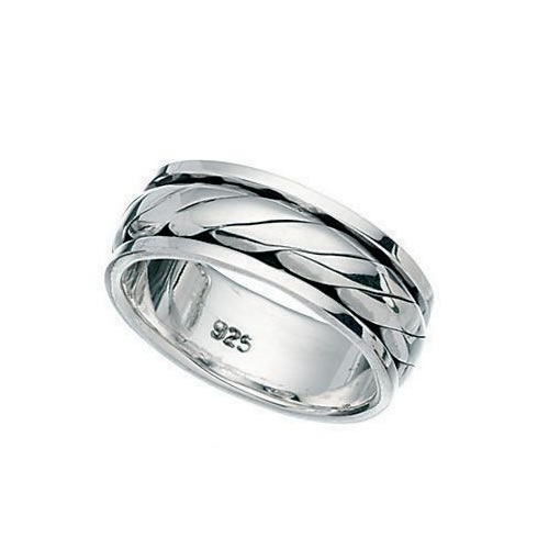 Rope Design Rotating Sterling Silver Band Ring
