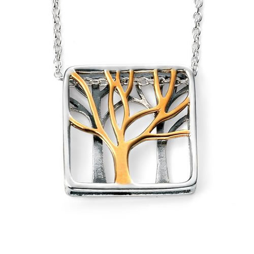 Tree Necklace In Sterling Silver With Gold Detail