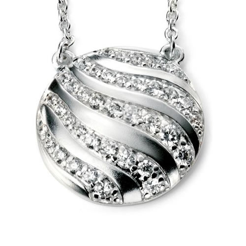 Wave Cubic Zirconia And Sterling Silver Necklace