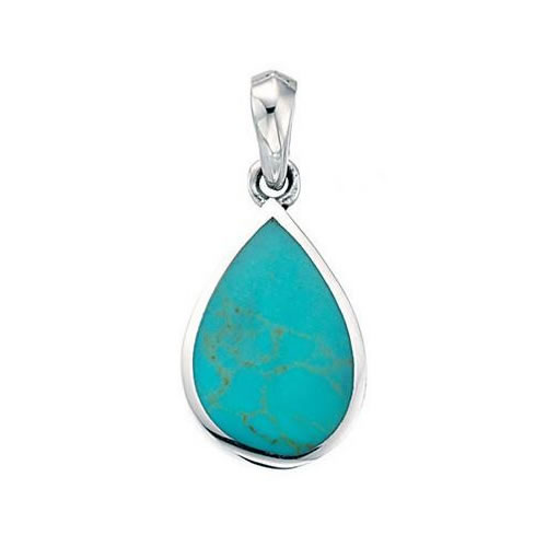 Turquoise Colour And Sterling Silver Peardrop Necklace